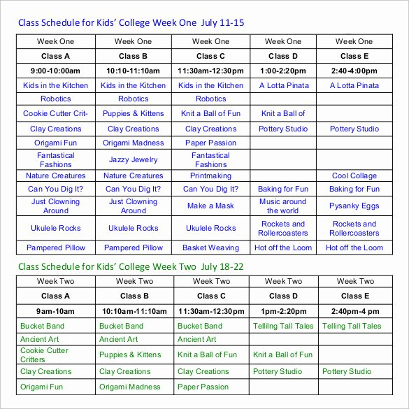 Weekly College Schedule Template Fresh Class Schedule Template 36 Free Word Excel Documents