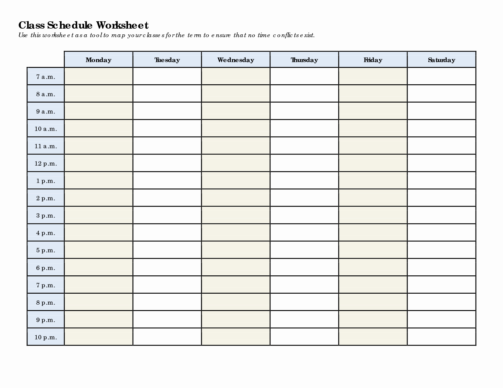 Weekly College Schedule Template Fresh Schedule Worksheet Templates Homeschool