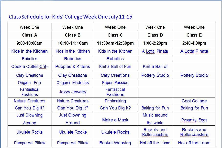 Weekly College Schedule Template Lovely College Class Schedule Example