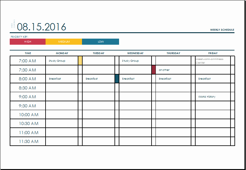 Weekly College Schedule Template Lovely Ms Excel Weekly College Tasks Schedule Template