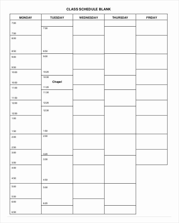 Weekly College Schedule Template Luxury College Schedule Template 7 Free Sample Example format