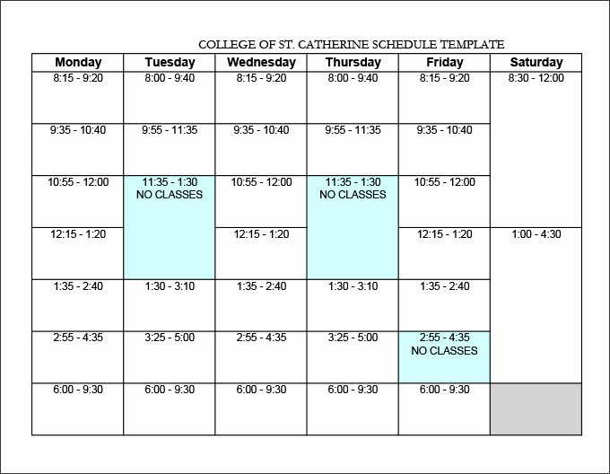 Weekly College Schedule Template Unique College Schedule Template 12 Free Word Excel Pdf