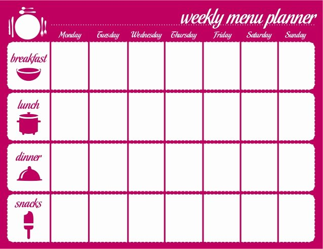 Weekly Food Planner Template Awesome Weekly Meal Plan for the Family – Printable
