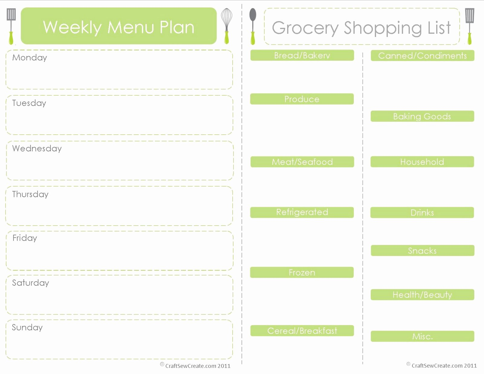 Weekly Food Planner Template Beautiful Craft Sew Create Free Printable Menu Plan Shopping List