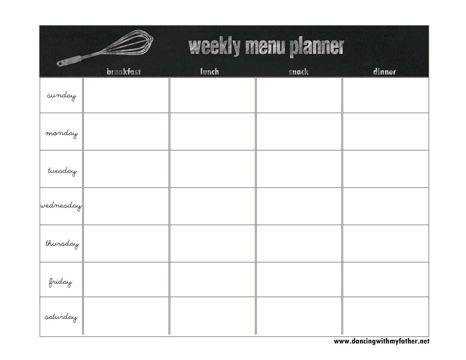 Weekly Food Planner Template Best Of Creative Dollar January 2014