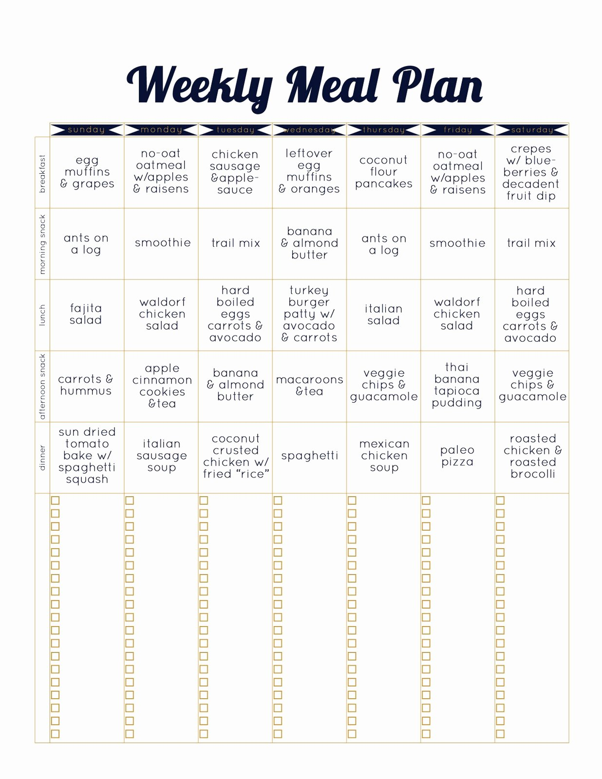 Weekly Food Planner Template Fresh Always Underfoot Paleo Template Weekly Meal Plan