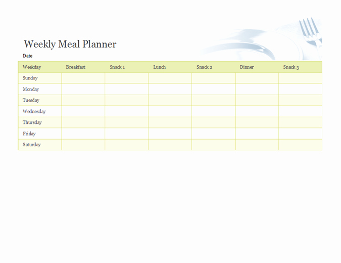 Weekly Food Planner Template Fresh Weekly Meal Planner
