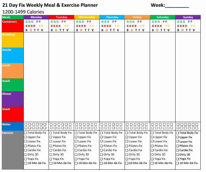 Weekly Food Planner Template Luxury Nick S Fitness Stuff 21 Day Fix Meal & Exercise Planners