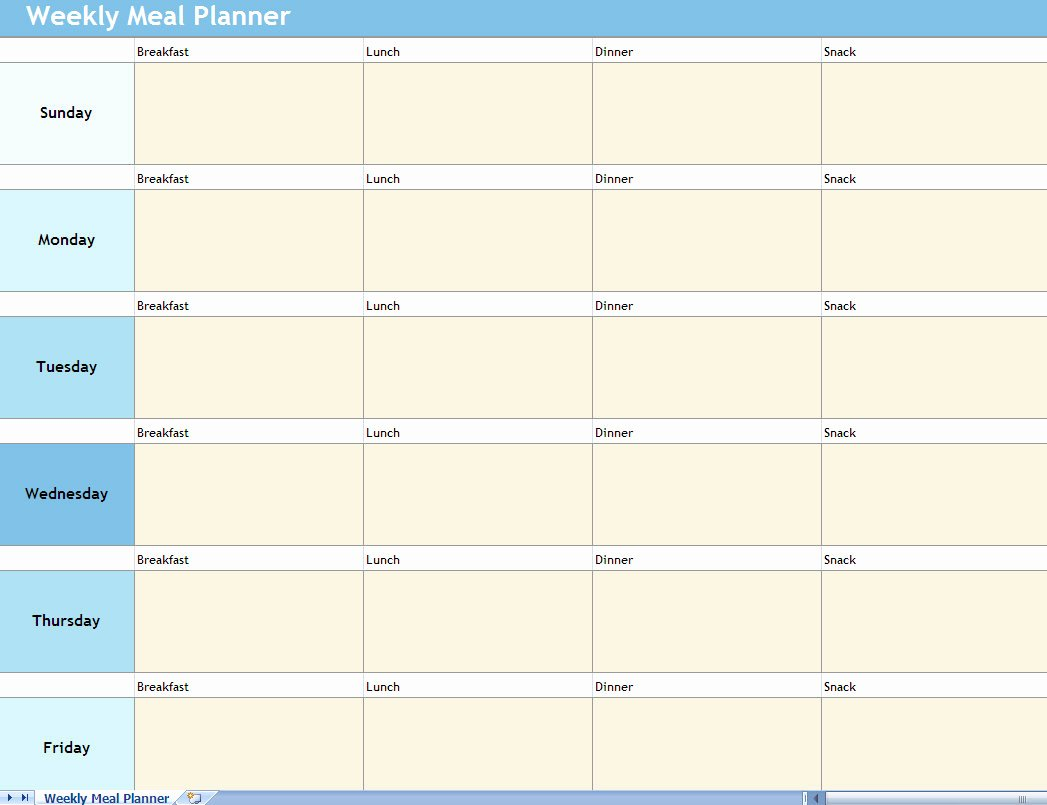 Weekly Food Planner Template Unique Weekly Meal Planner Excel Spreadsheet