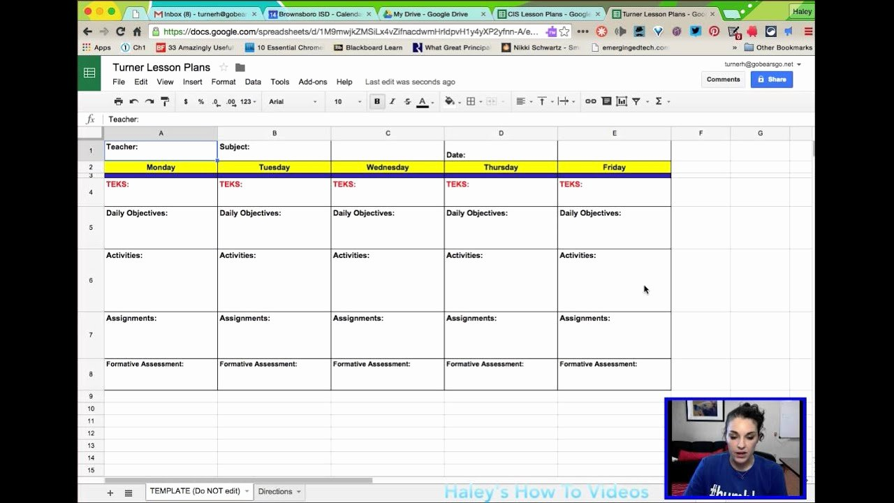 Weekly Lesson Plan Template Doc Awesome Creating Lesson Plans From A Template In Google Sheets