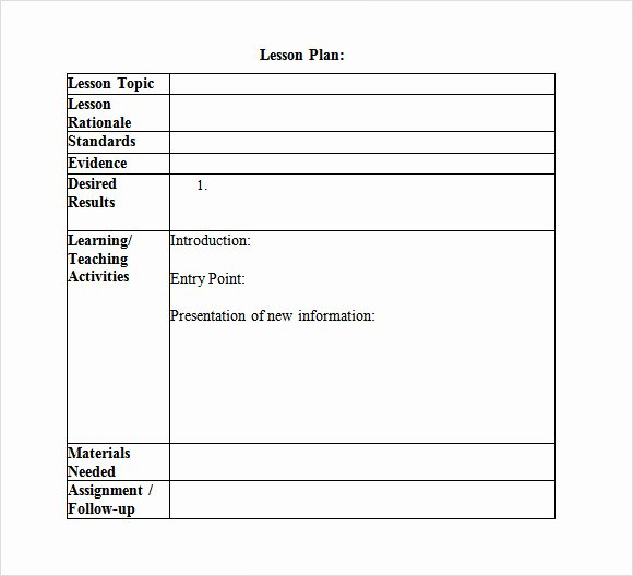 Weekly Lesson Plan Template Doc Inspirational Free 8 Sample Lesson Plans In Pdf