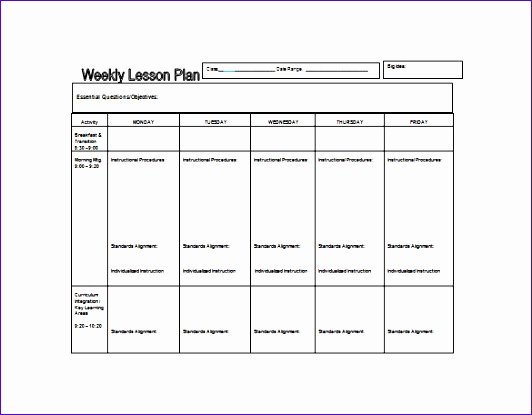 Weekly Lesson Plan Template Doc New 5 Weekly Lesson Plan Template Excel Exceltemplates