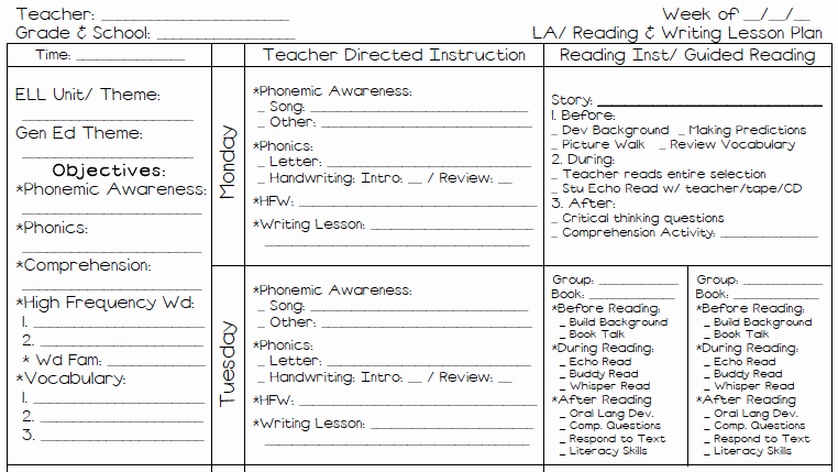 Weekly Lesson Plan Template Elementary Best Of A Teacher S Plan M S Kinder Plans