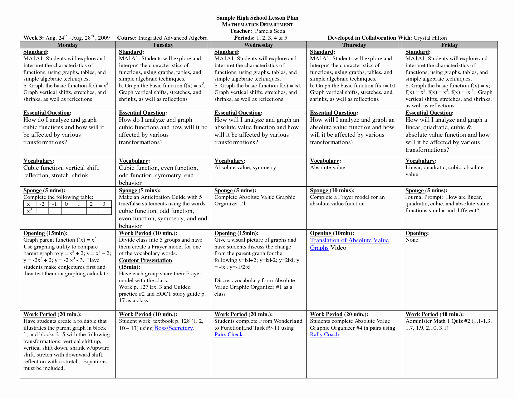 Weekly Lesson Plan Template Elementary Fresh High School Math Lesson Plan Template