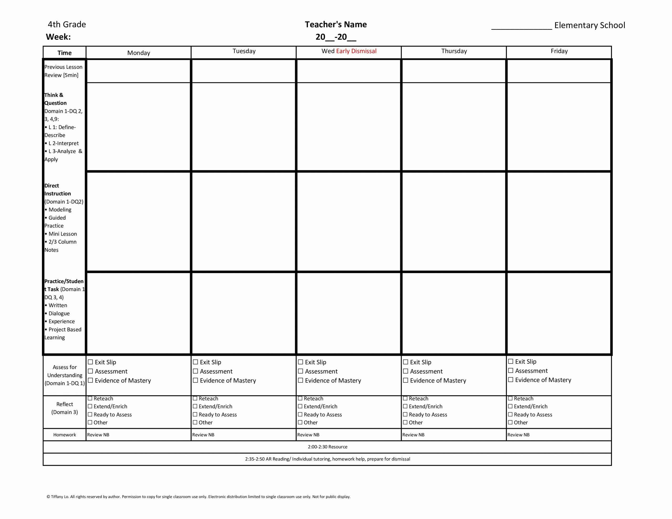 Weekly Lesson Plan Template Elementary Lovely 4th Fourth Grade Weekly Lesson Plan Template W Florida