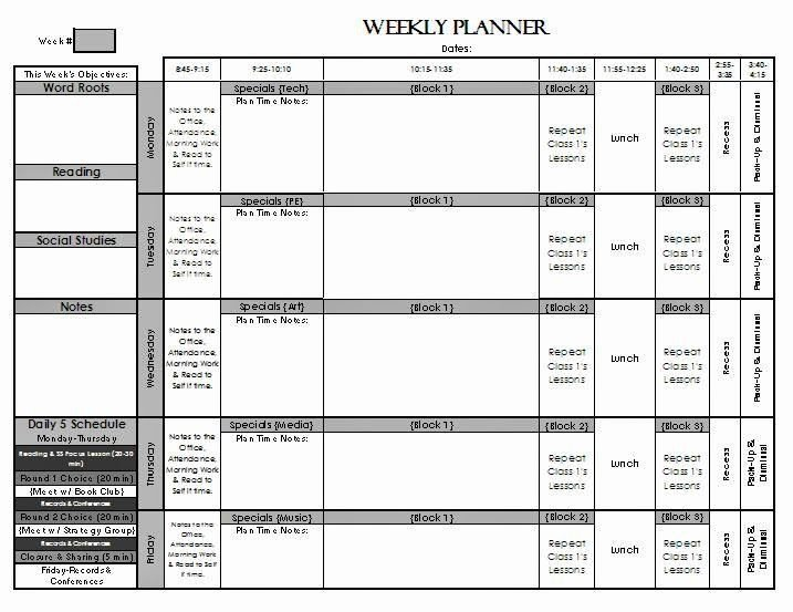 Weekly Lesson Plan Template Elementary Lovely Check Out My Weekly Lesson Planning Page Templates for