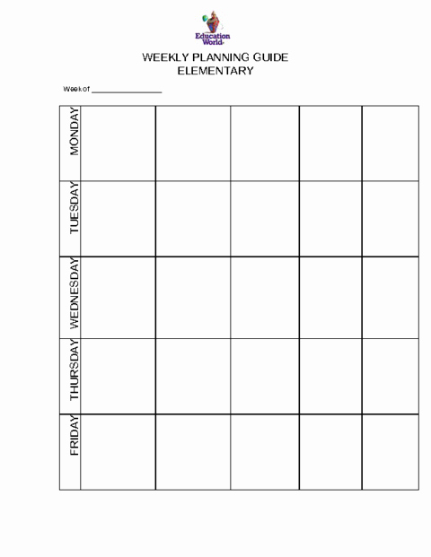 Weekly Lesson Plan Template Elementary New Elementary Weekly Planning Guide Template