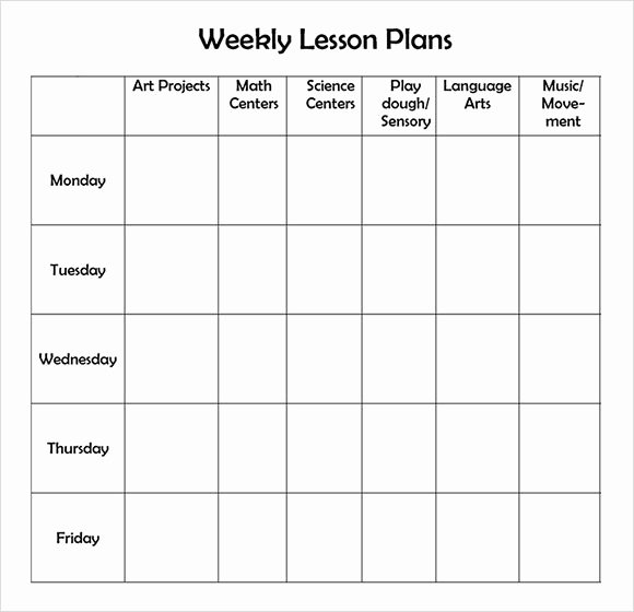 Weekly Lesson Plan Template Elementary New Free Printable Weekly Lesson Plan Template …