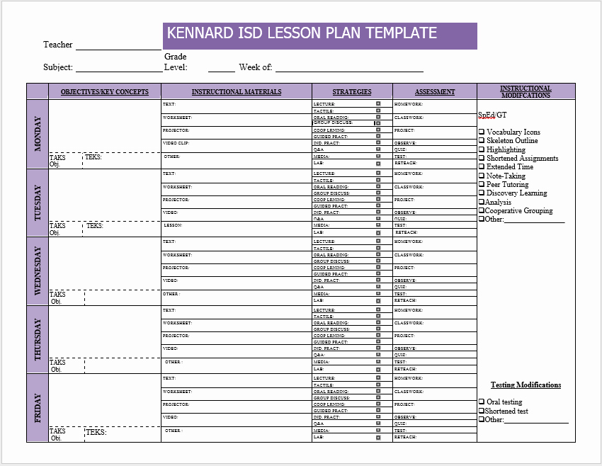 Weekly Lesson Plan Template Free Awesome Weekly Lesson Plan Templates 2 Free Templates Word