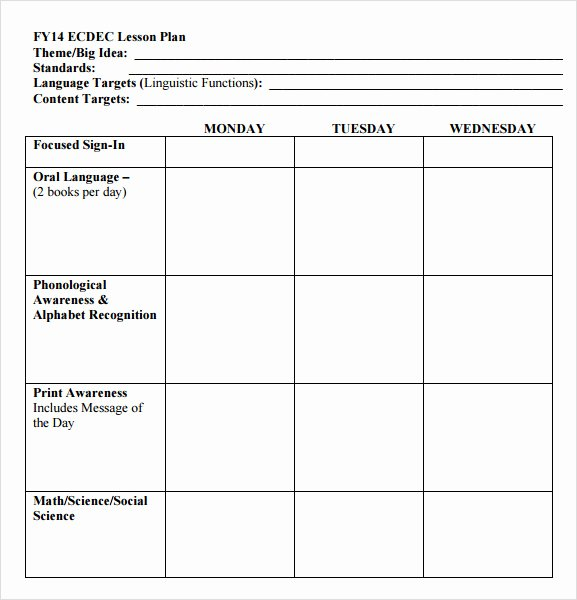 Weekly Lesson Plan Template Free Beautiful Free 10 Sample Preschool Lesson Plans In Google Docs