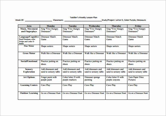 Weekly Lesson Plan Template Free Fresh toddler Lesson Plan Template 9 Free Pdf Word format