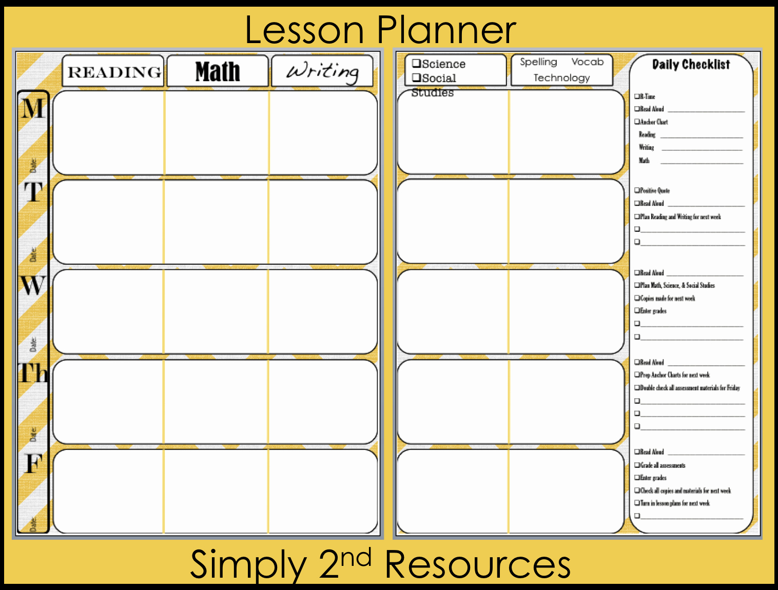 Weekly Lesson Plan Template Free Inspirational Simply 2nd Resources Lesson Plan Template so Excited to