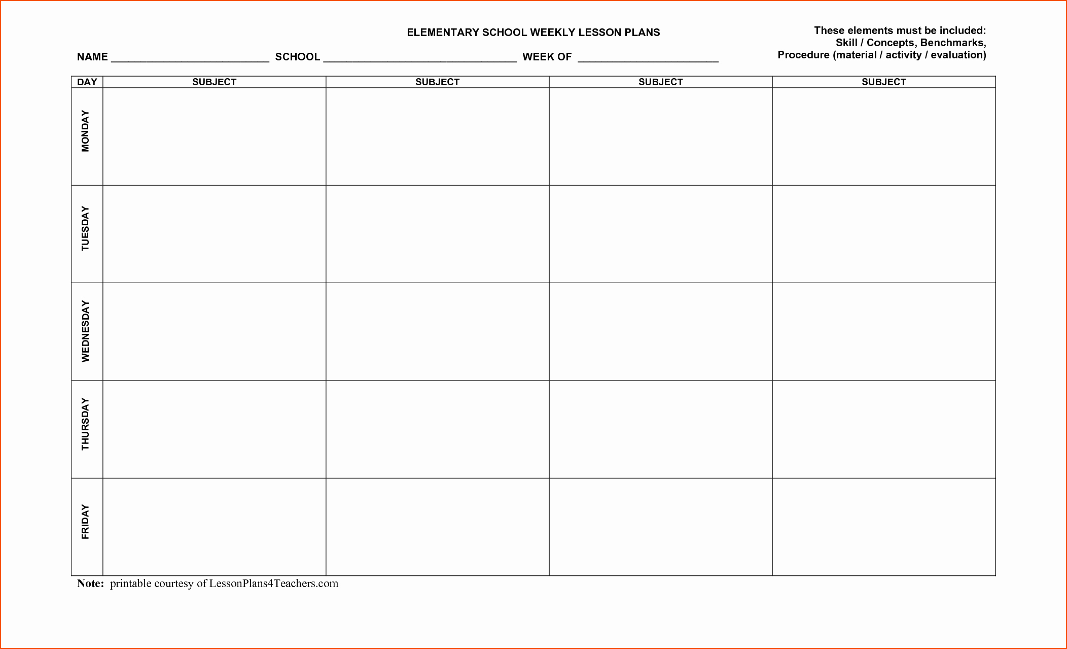 Weekly Lesson Plan Template Free Lovely 8 Free Printable Lesson Plan Template Bookletemplate