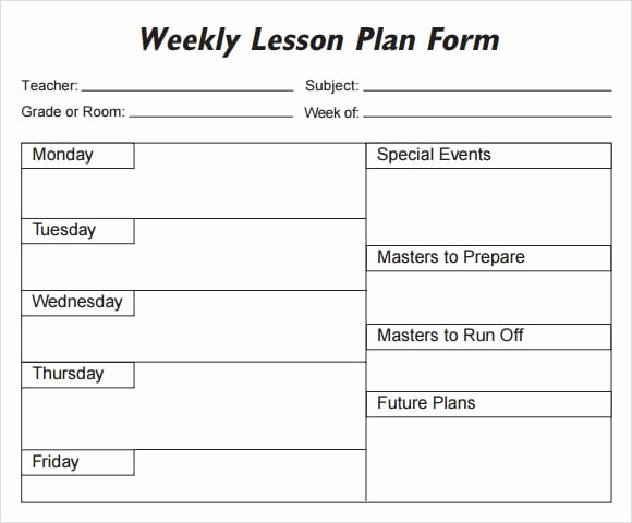 Weekly Lesson Plan Template Free New 5 Free Lesson Plan Templates Excel Pdf formats