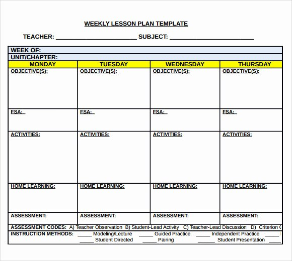 Weekly Lesson Planning Template New Sample Middle School Lesson Plan Template 7 Free