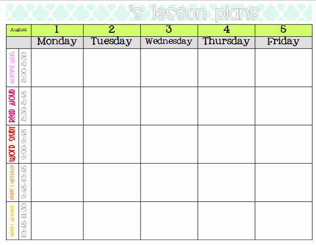 Weekly Lesson Plans Template Beautiful Best S Of Elementary Weekly Lesson Plan Templates