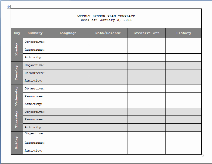 Weekly Lesson Plans Template Fresh Weekly Lesson Plan Templates 2 Free Templates Word