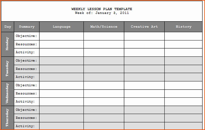 Weekly Lesson Plans Template Unique 7 Teacher Lesson Plan Template Bookletemplate