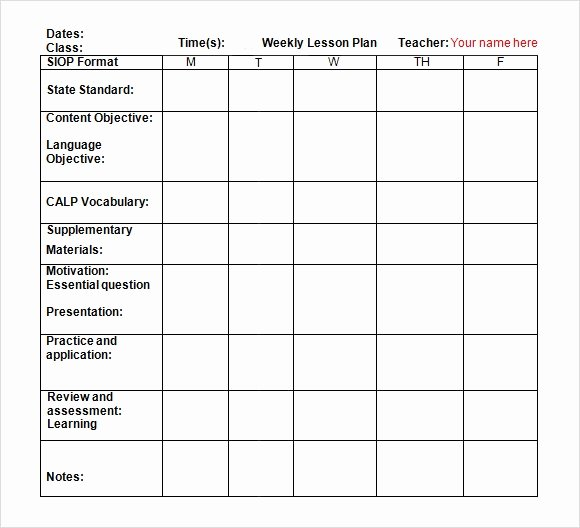 Weekly Lesson Plans Template Unique Free 7 Sample Weekly Lesson Plans In Google Docs