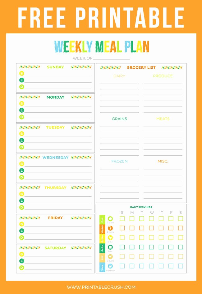 Weekly Meal Planner Template Printable Awesome Free Printable Weekly Meal Planner Printable Crush