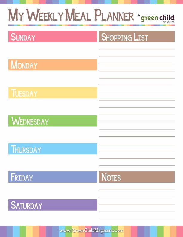Weekly Meal Planner Template Printable Awesome Weekly Meal Planner Free Printable