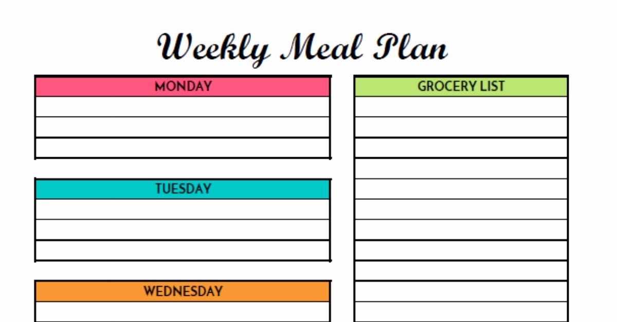 Weekly Meal Planner Template Printable Lovely Free Weekly Meal Planning Printable with Grocery List