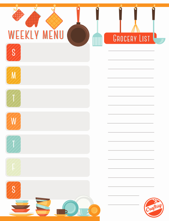 Weekly Meal Planner Template Printable Lovely Get A Free Printable Weekly Meal Planner On Craftsy