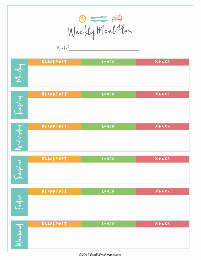 Weekly Meal Planner Template Printable New Free Meal Plan Printables Family Fresh Meals