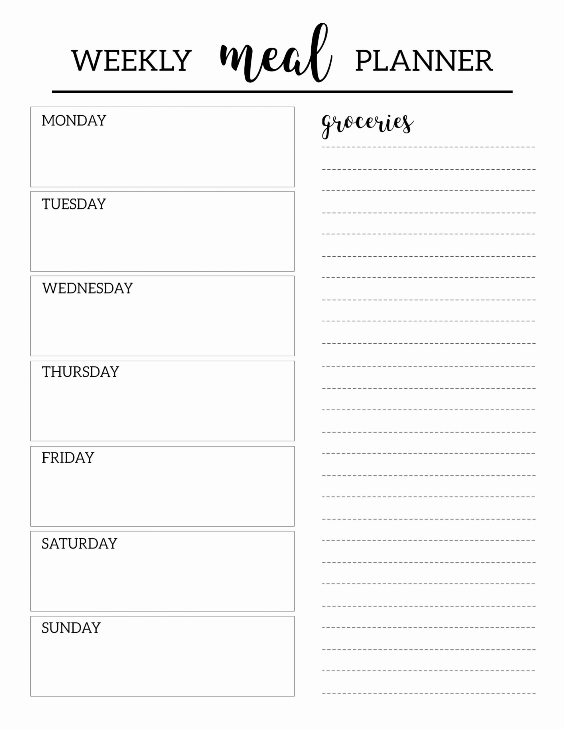 Weekly Meal Planner Template Printable New Free Printable Meal Planner Template Paper Trail Design