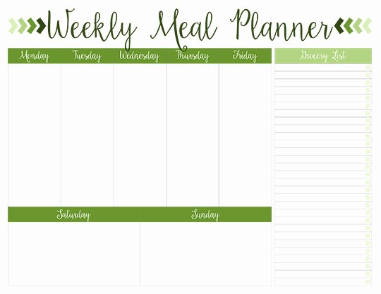 Weekly Meal Planner Template Printable New Printable Weekly Meal Planners Free