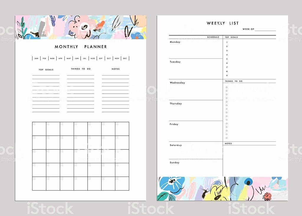Weekly Monthly Planner Template Elegant Monthly Planner Plus Weekly List Templates Vector Stock