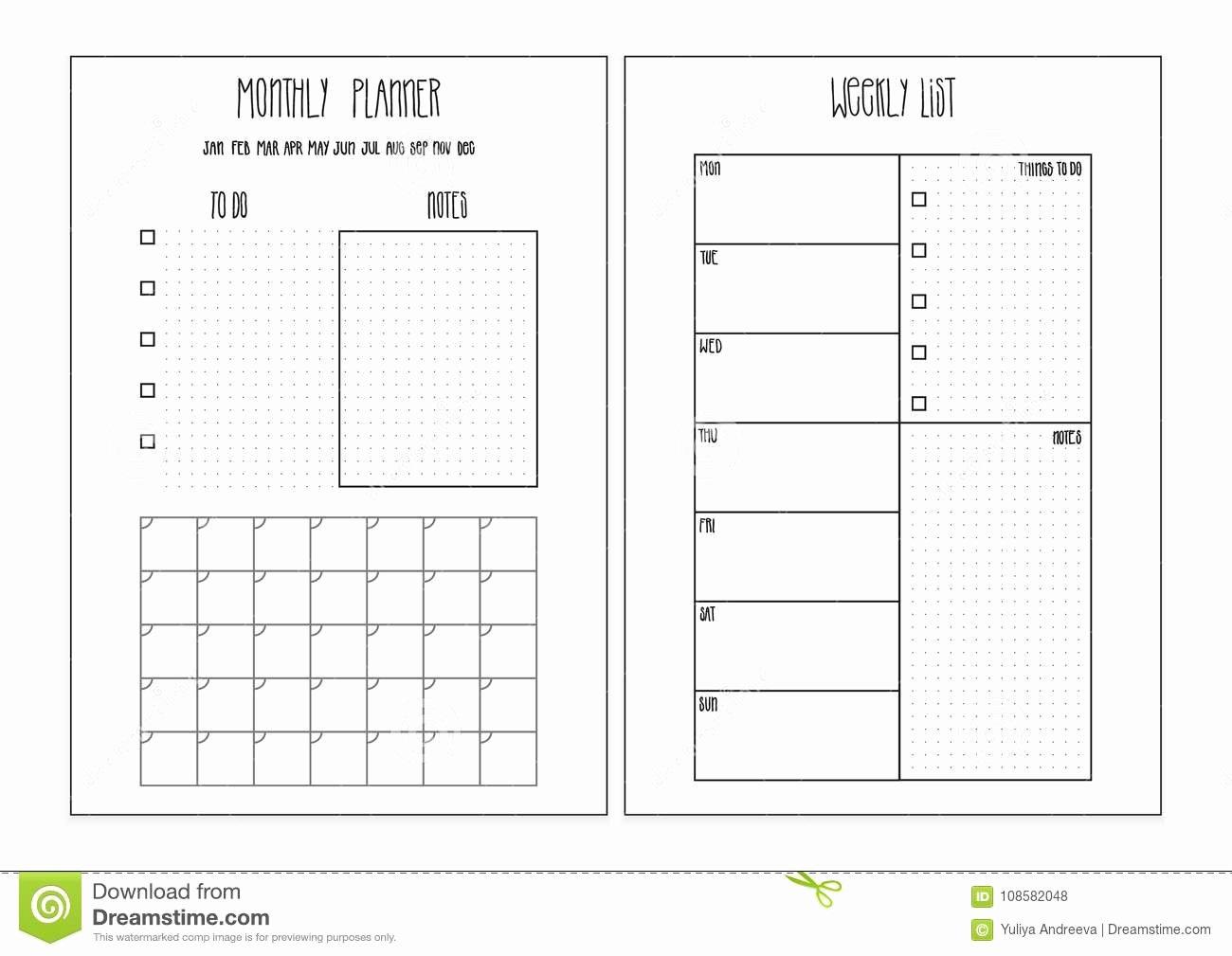 Weekly Monthly Planner Template Elegant Weekly Planner Monthly Planner Printable Pages Vector