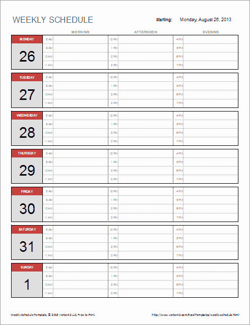 Weekly Planner Template Excel Awesome 70 Free Schedule & Planner Templates [ Word Excel