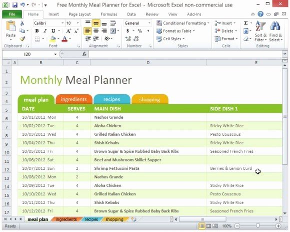 Weekly Planner Template Excel Awesome Free Monthly Meal Planner for Excel