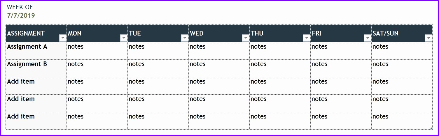 Weekly Planner Template Excel Awesome Personal Weekly Planner Template Exceltemplates