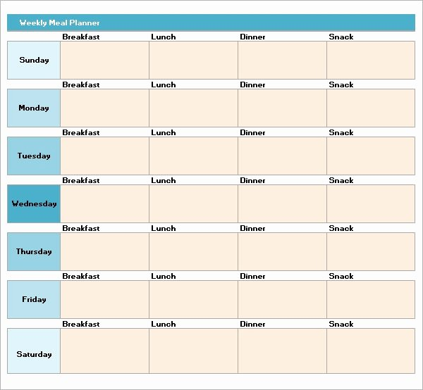 Weekly Planner Template Excel Beautiful Free 17 Meal Planning Templates In Pdf Excel