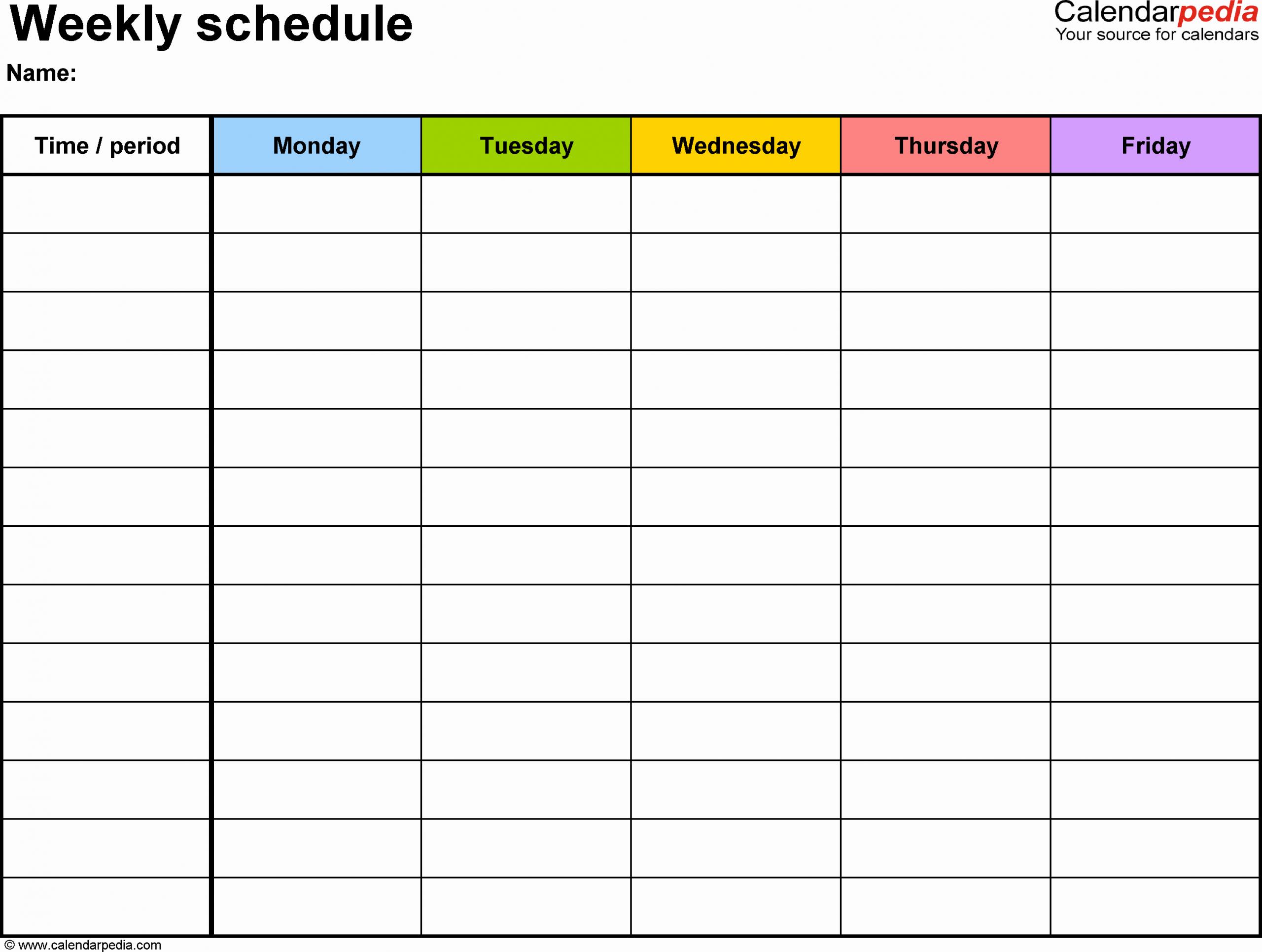 Weekly Schedule Planner Template Beautiful Weekly Schedule Template for Word Version 1 Landscape 1