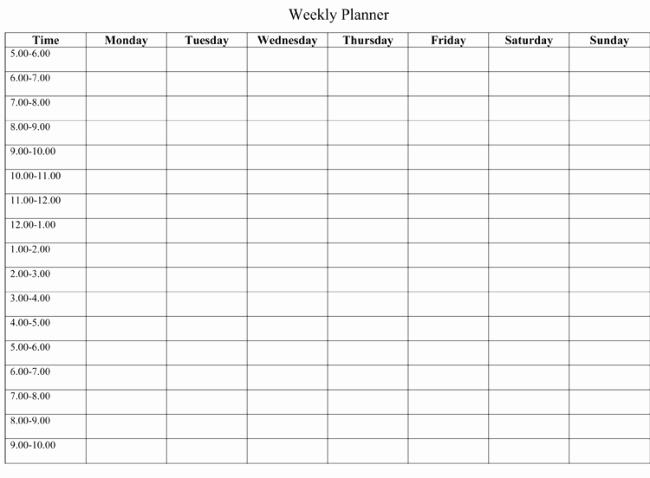 Weekly Schedule Planner Template Fresh 7 Free Weekly Planner Template & Schedule Planners Word