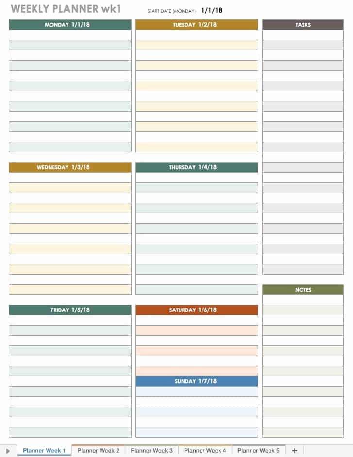 Weekly Schedule Planner Template Luxury Free Excel Calendar Templates