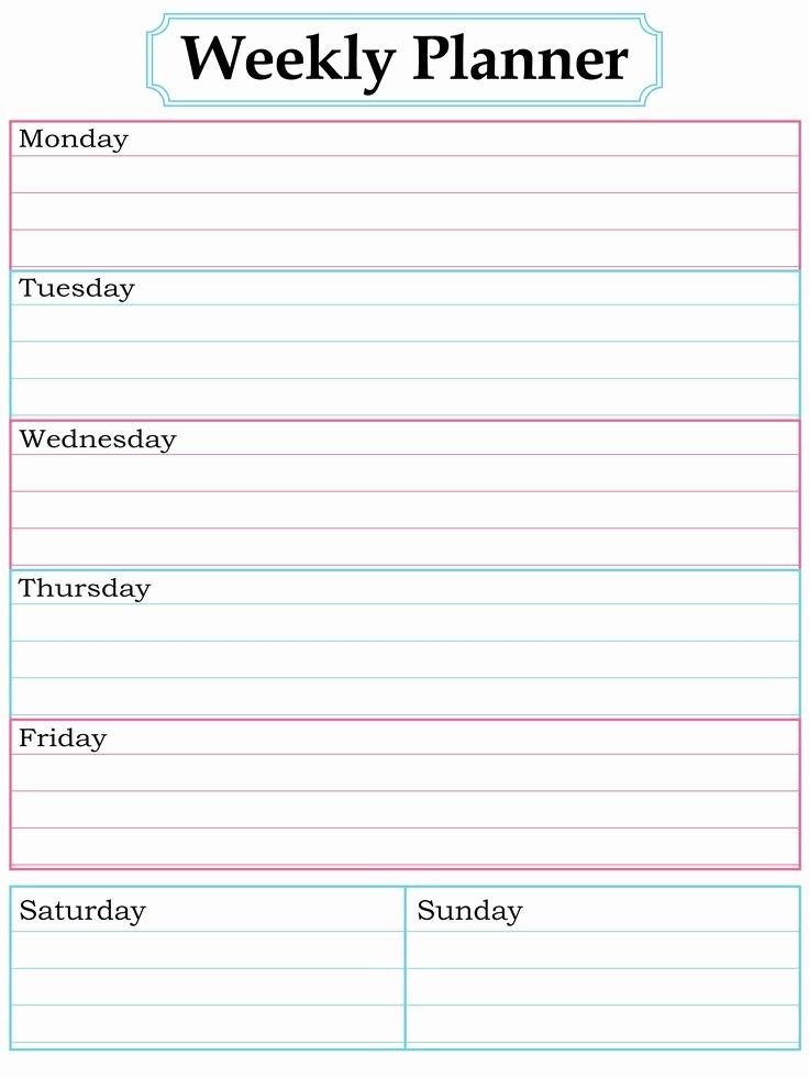 Weekly Schedule Planner Template New Weekly Planner Printable Nice Simple Clean Lines